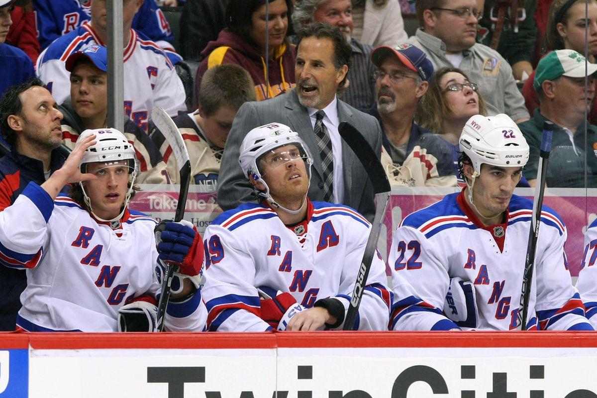 Mar 27, 2012; St. Paul, MN, USA; New York Rangers head coach John Tortorella during the second period against the Minnesota Wild at the Xcel Energy Center. The Rangers deafeated the Wild 3-2. Mandatory Credit: Brace Hemmelgarn-US PRESSWIRE