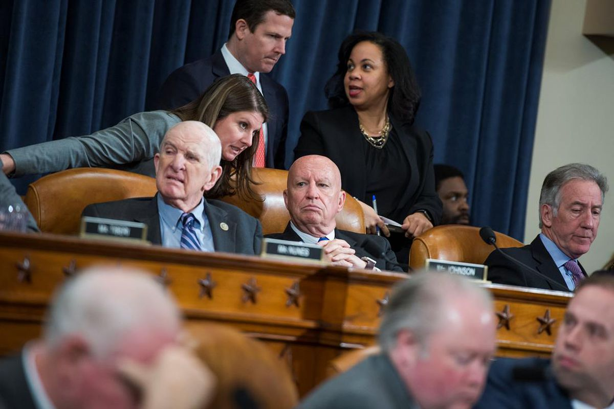 Rep. Sam Johnson, R-Texas, Chairman Kevin Brady, R-Texas, and Ranking Member Richard Neal, D-Mass., conduct a House Ways and Means Committee markup