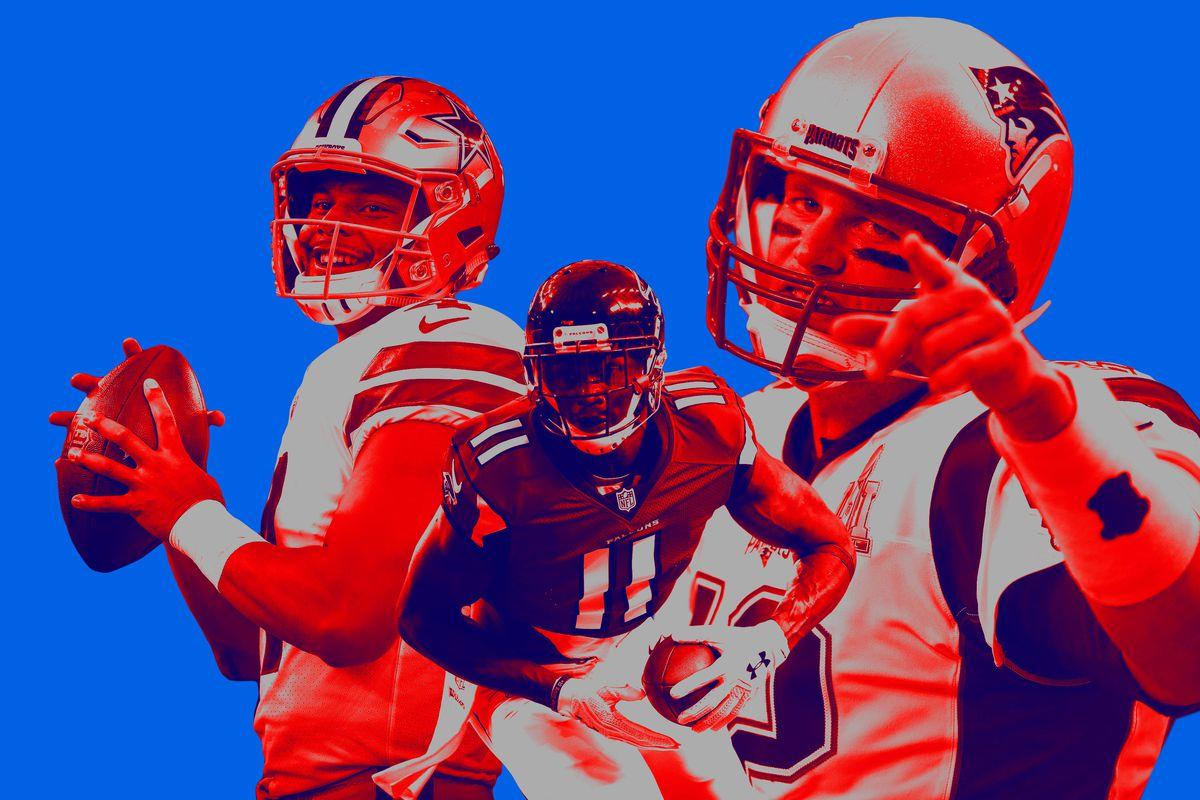 Collage of Dak Prescott, Julio Jones, and Tom Brady