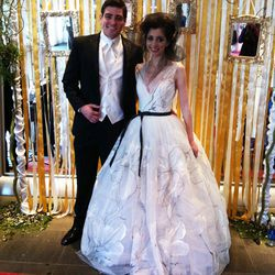 Upon entry, guests were greeted by models posing as the bride and groom.