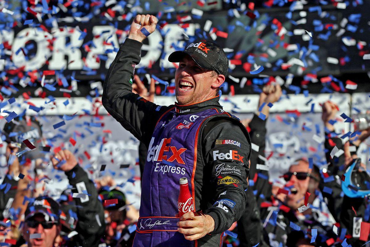 Denny Hamlin wins the Daytona 500  by a Hokie Feather...