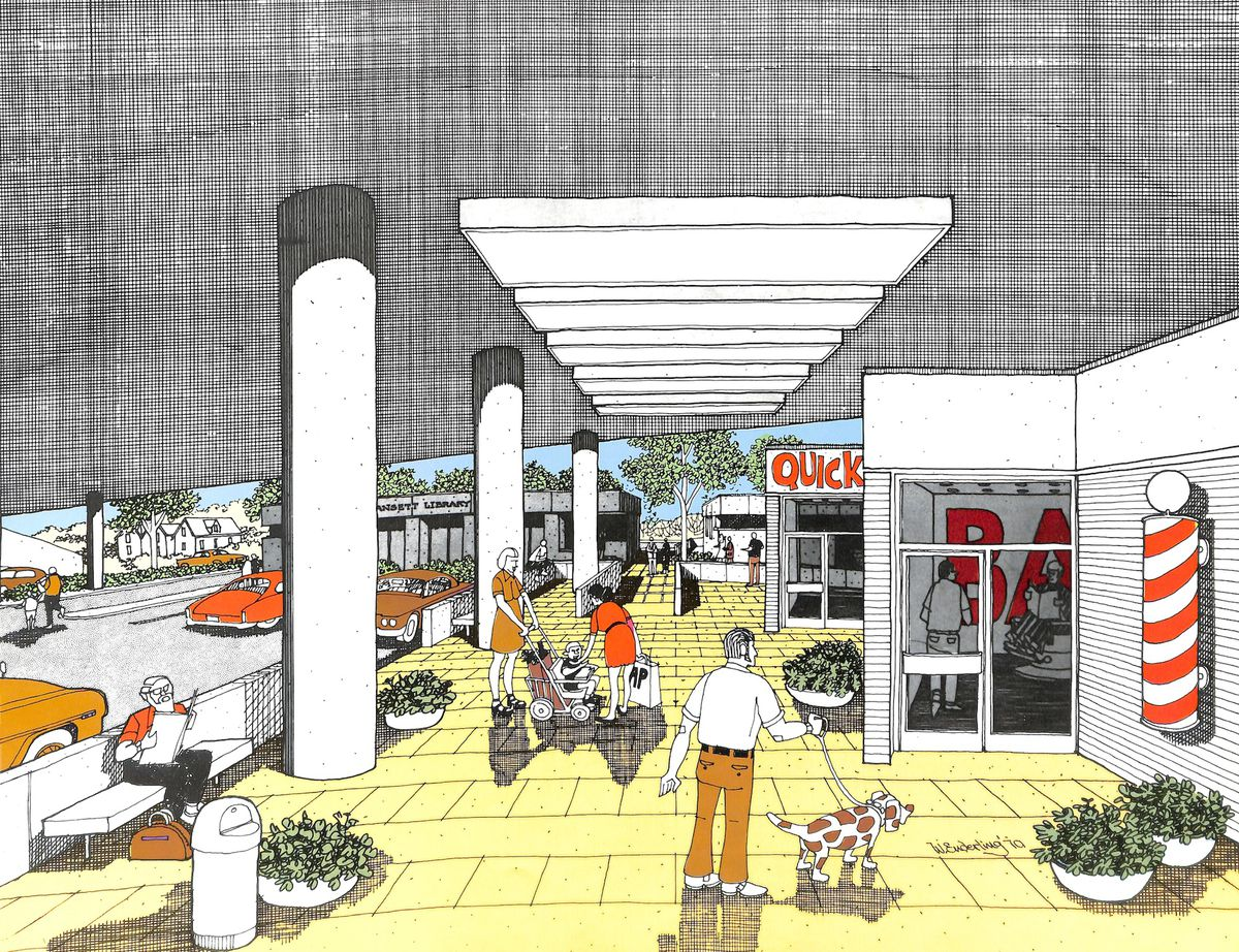 An architectural rendering of a pedestrian mall underneath a highway.