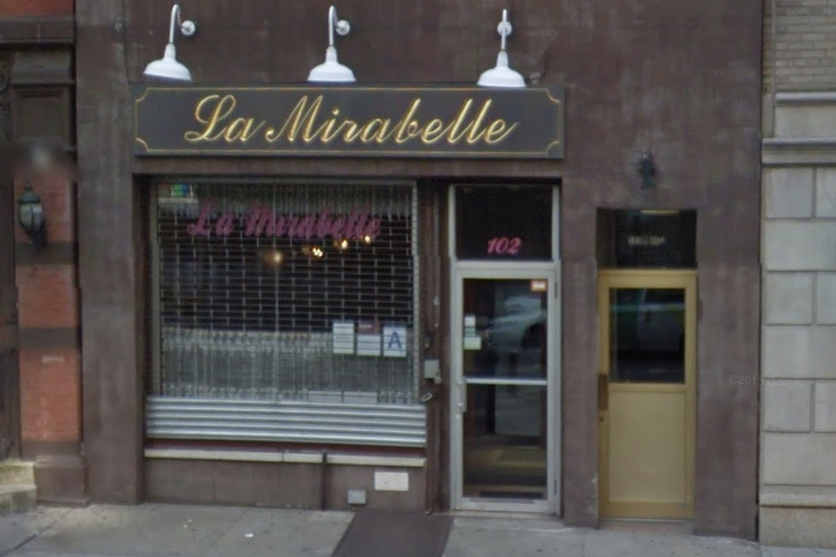 """A screenshot of a Google Maps rendering of a brown New York City storefront whose sign reads """"La Mirabelle"""" in cursive font"""