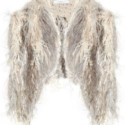 """Vanessa Bruno feather-embellished <a href=""""http://www.theoutnet.com/product/220898"""" rel=""""nofollow"""">shrug</a>. Original price $1,875; now $281.25."""