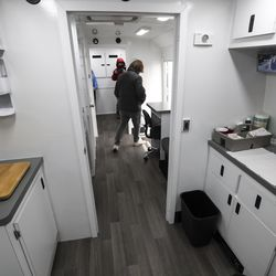 The interior of one of the Salt Lake County Health Department's new Mobile Health Centers for COVID Response is pictured at the Salt Lake County Government Center in Salt Lake City on Wednesday, Jan. 27, 2021.