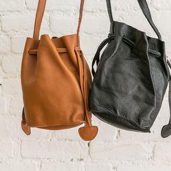 Leather bucket bags, $159