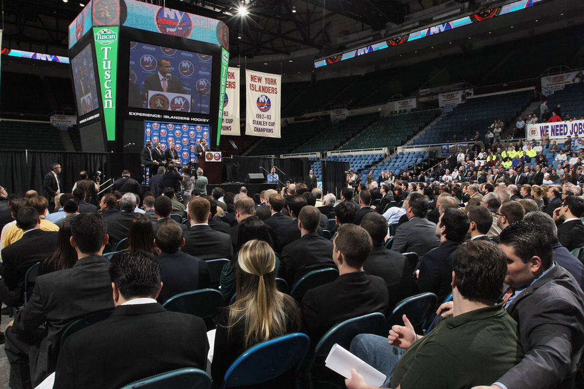 """""""Now Serving: No. 57."""" On RFQ Day, Nassau Coliseum resembles a 16,000-seat DMV.  (Photo by Bruce Bennett/Getty Images)"""