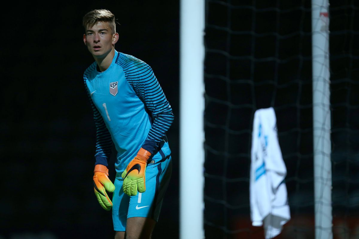 ROCHDALE, ENGLAND - OCTOBER 10: Jonathan Klinsmann of USA U20 during the Under 20's Four Nations Tournament match between England and the United States at the Crown Oil Arena on October 10, 2016 in Rochdale, England. (Photo by Dave Thompson - The FA/The FA via Getty Images)