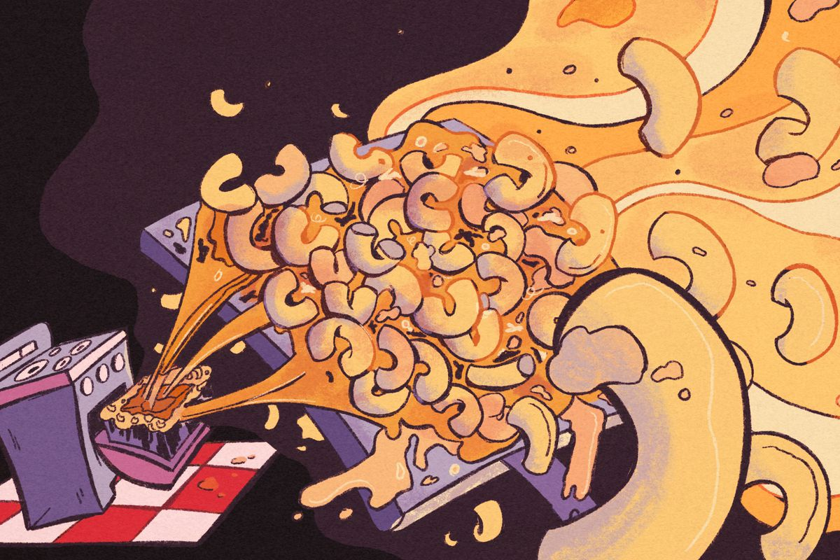 Illustration of a tray of mac and cheese exploding from the inside of an oven.
