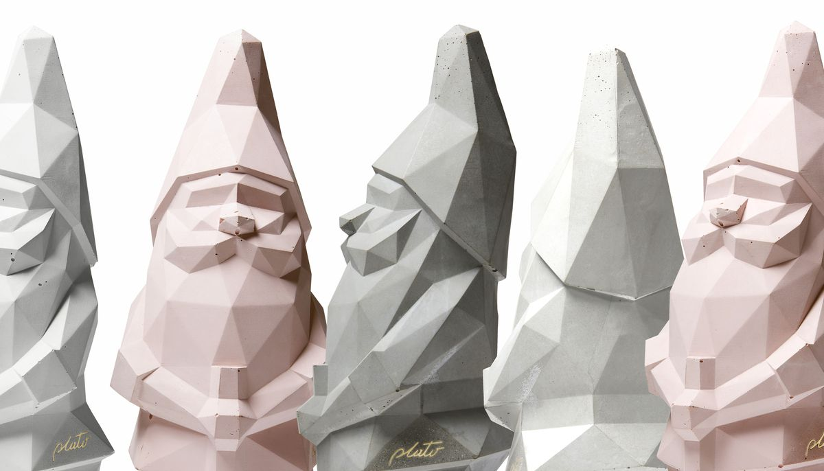 Series of grey, white, and pink garden gnomes