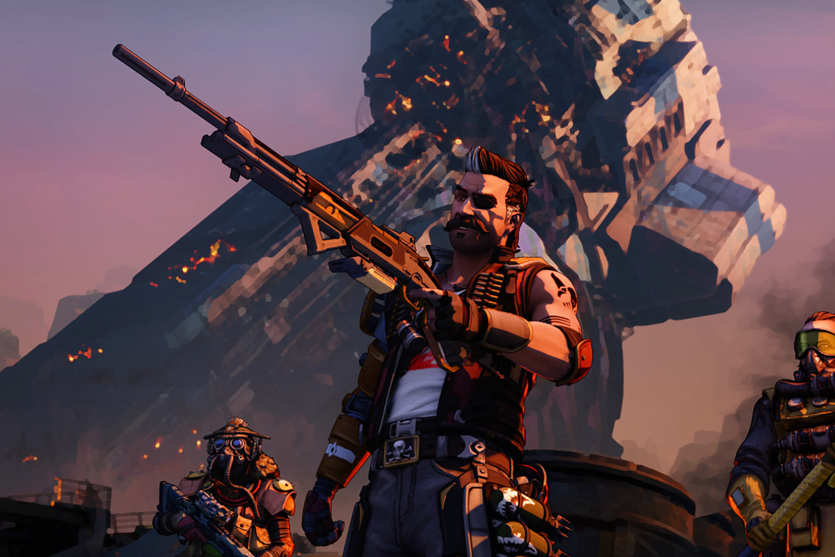 Fuse from Apex Legends stands in front of some of the game's other characters while holding a weapon