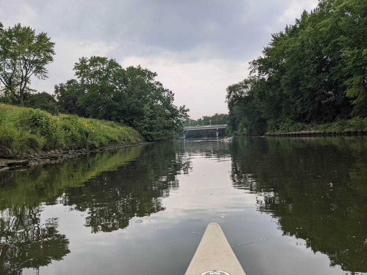 A view downstream on the North Branch of the Chicago River from a paddle that took off from River Park, where River Lab is now open for programming. Credit: Dale Bowman