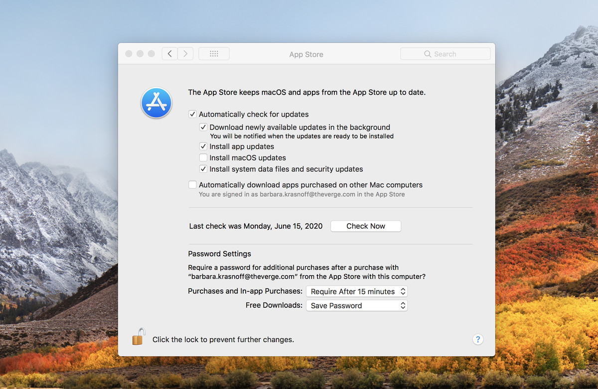 In macOS High Sierra, you have to go to the System Preferences for App Store to make updates automatic.