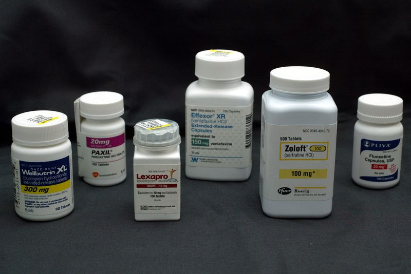 Bottles of popular anti-depressants.