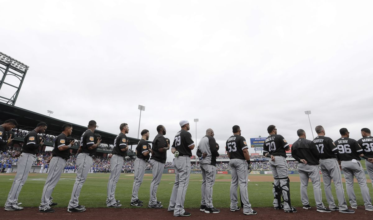 White Sox players line up for the national anthem.