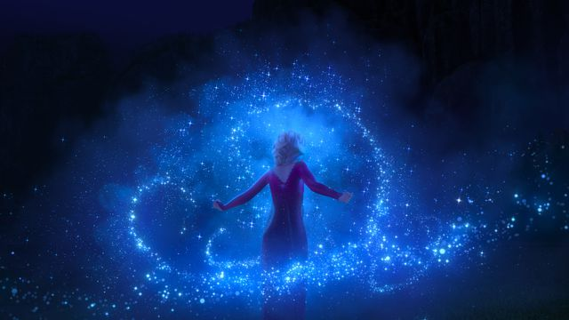 elsa surrounded by a swirling vortex of dope ice powers