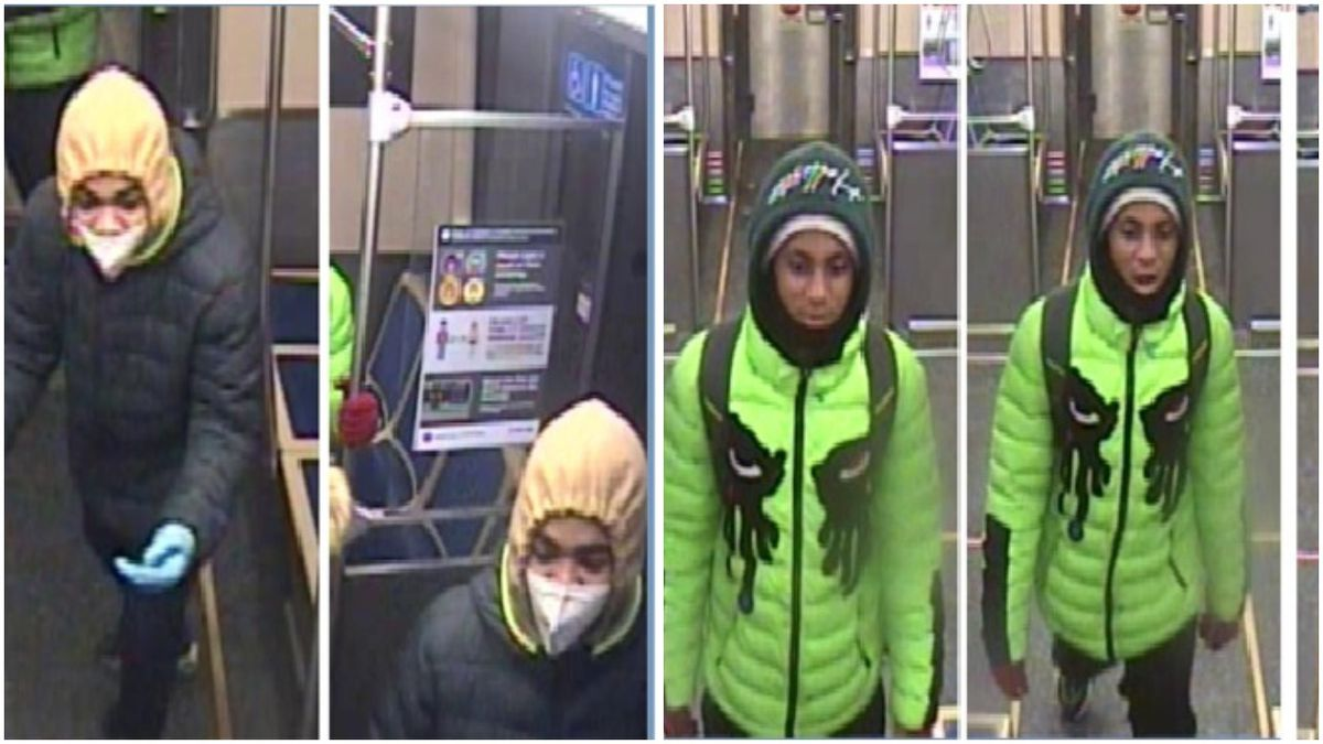 Surveillance images of people wanted in connection with an armed robbery from March 2, 2021, on a Green Line train.
