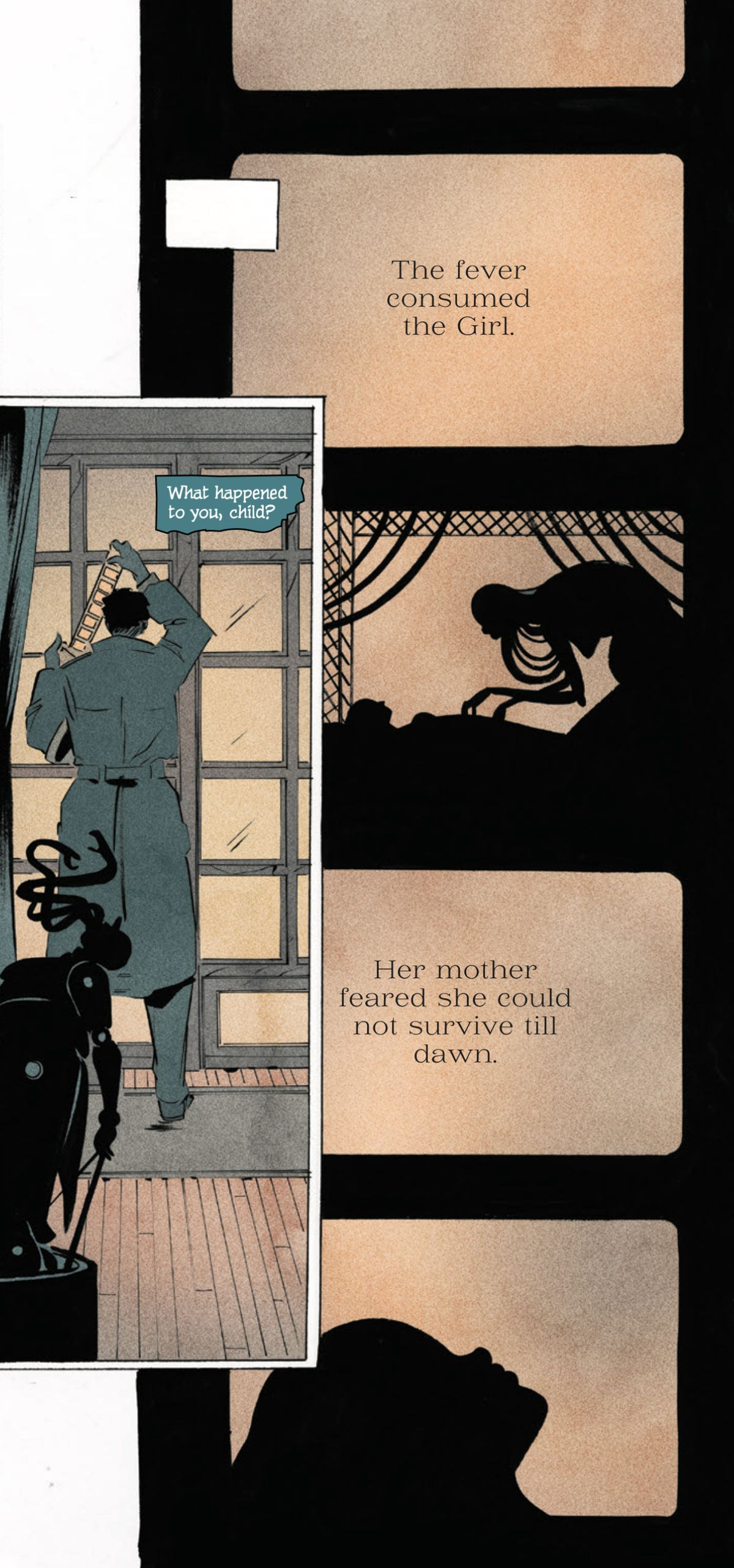 A private investigator studies a strip of film stock depicting a sick girl, in Pretty Deadly: The Rat #1, Image Comics.