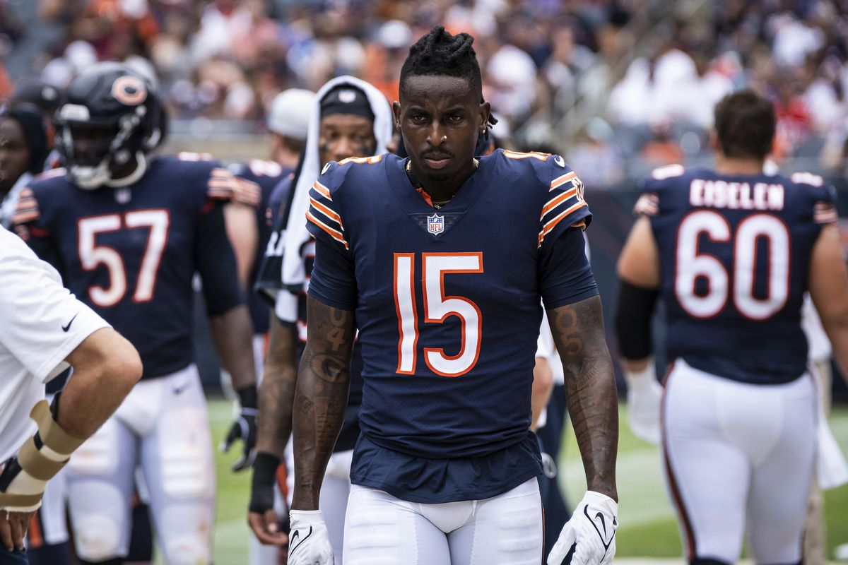 Bears wide receiver Javon Wims (15, on the sidelines during the preseason game against the Bills last week) caught six passes for 48 yards and one touchdown last year.