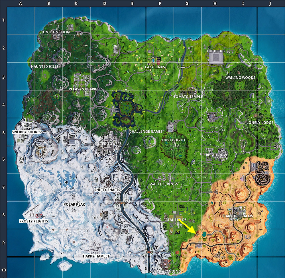 Fortnite Week 9 challenge step 1 map
