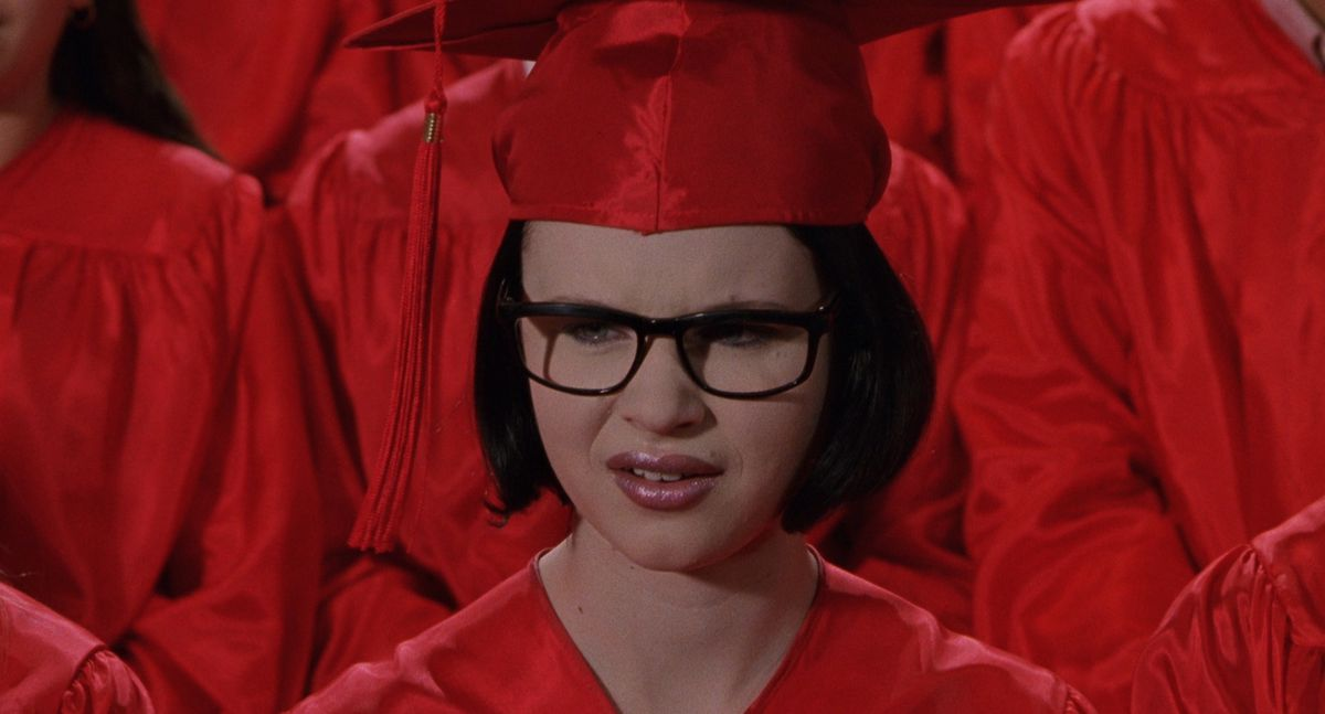 Thora Brich in a red cap and gown in Ghost World