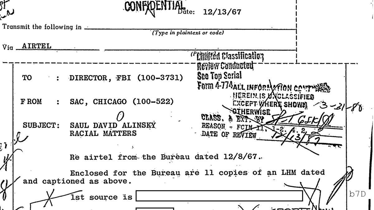 The FBI files obtained by the Sun-Times are filled with well-known people who, for one reason or another, came under scrutiny by the agency, like renowned organizer Saul Alinsky in the file shown here.