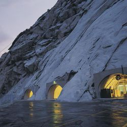 Entrance to the Granite Mountain Records Vault located in the foothills of the mountains surrounding the Salt Lake Valley.