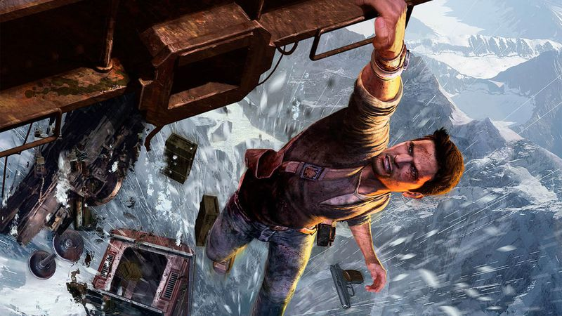 Uncharted 2: Among Thieves cover art crop - Nathan Drake hanging onto a train