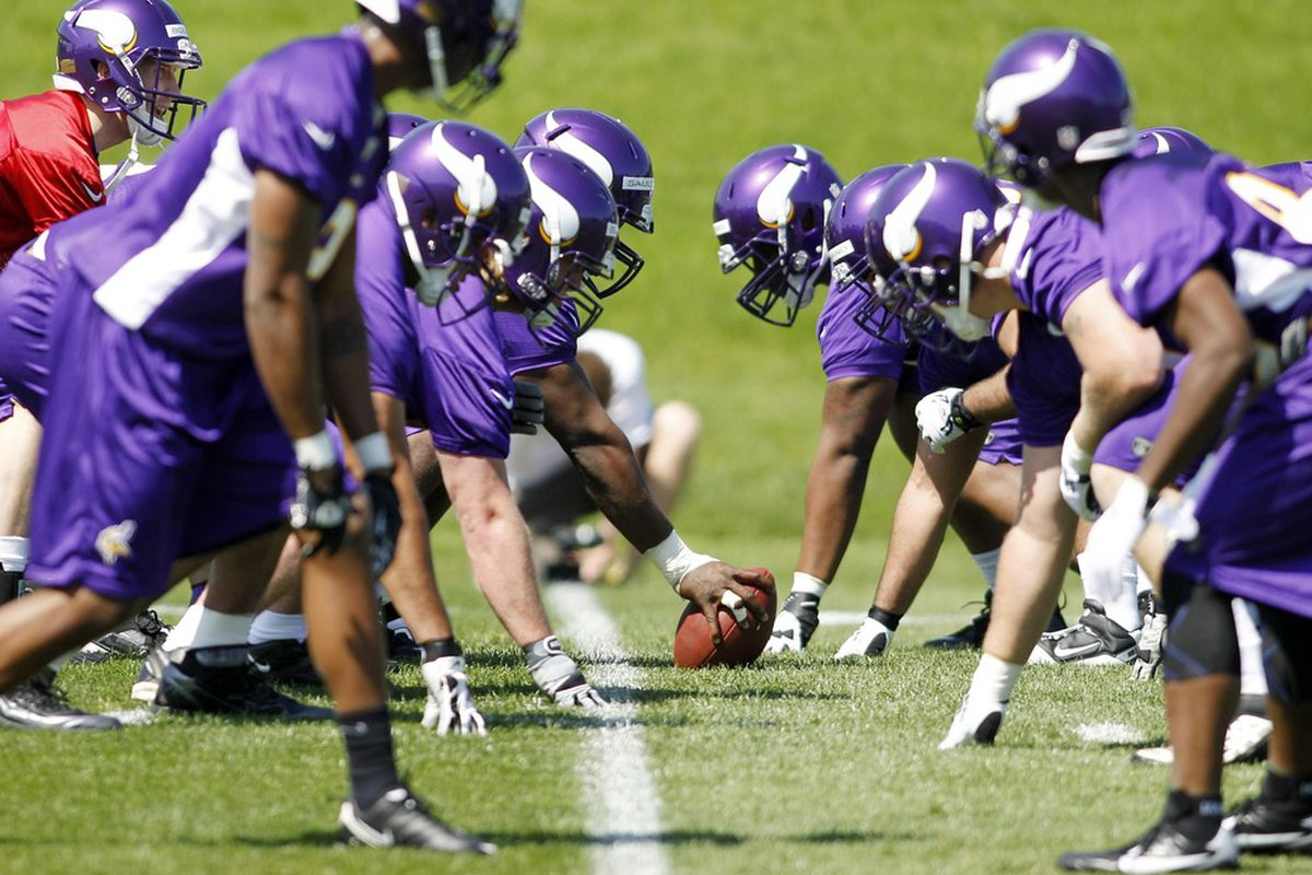 May 4, 2012; Eden Prairie, MN, USA; Rookies of the Minnesota Vikings offense line up against each other in drills at rookie camp at Winter Park. Mandatory Credit: Bruce Kluckhohn-US PRESSWIRE