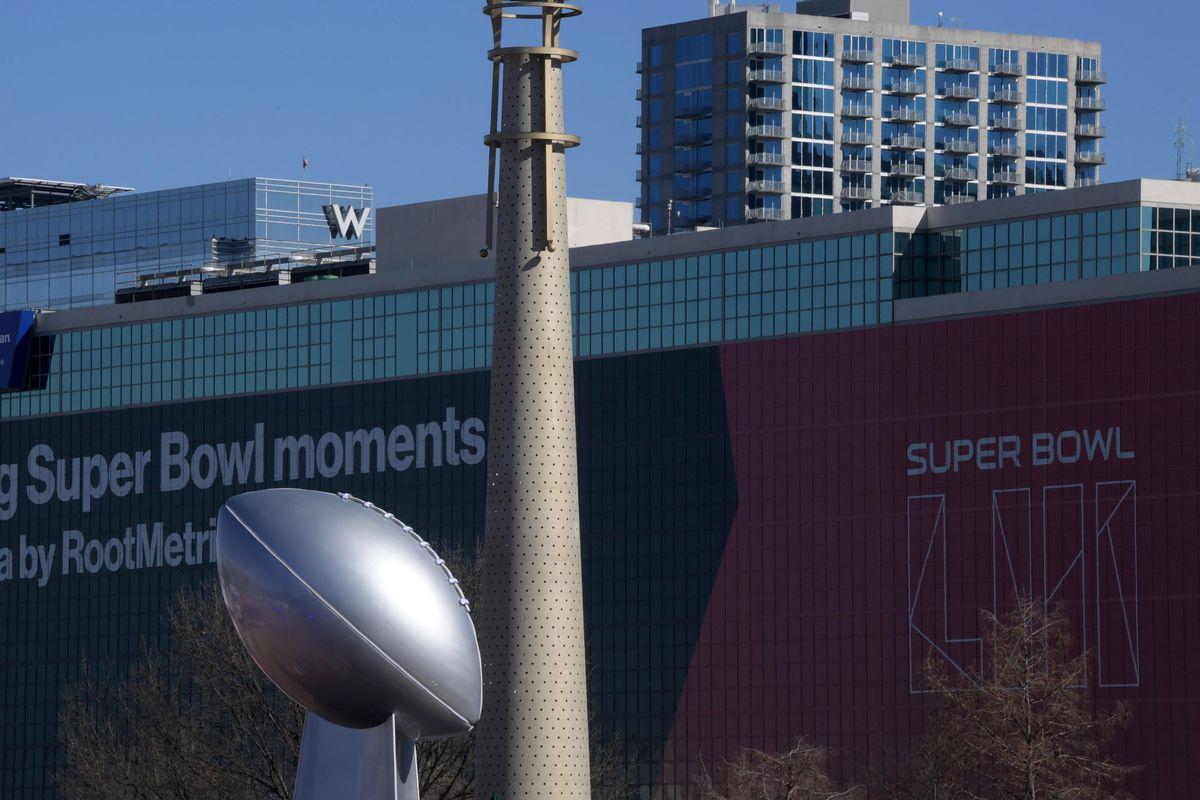 The Vince Lombardi trophy at Super Bowl LIII, Jan. 31, 2019.