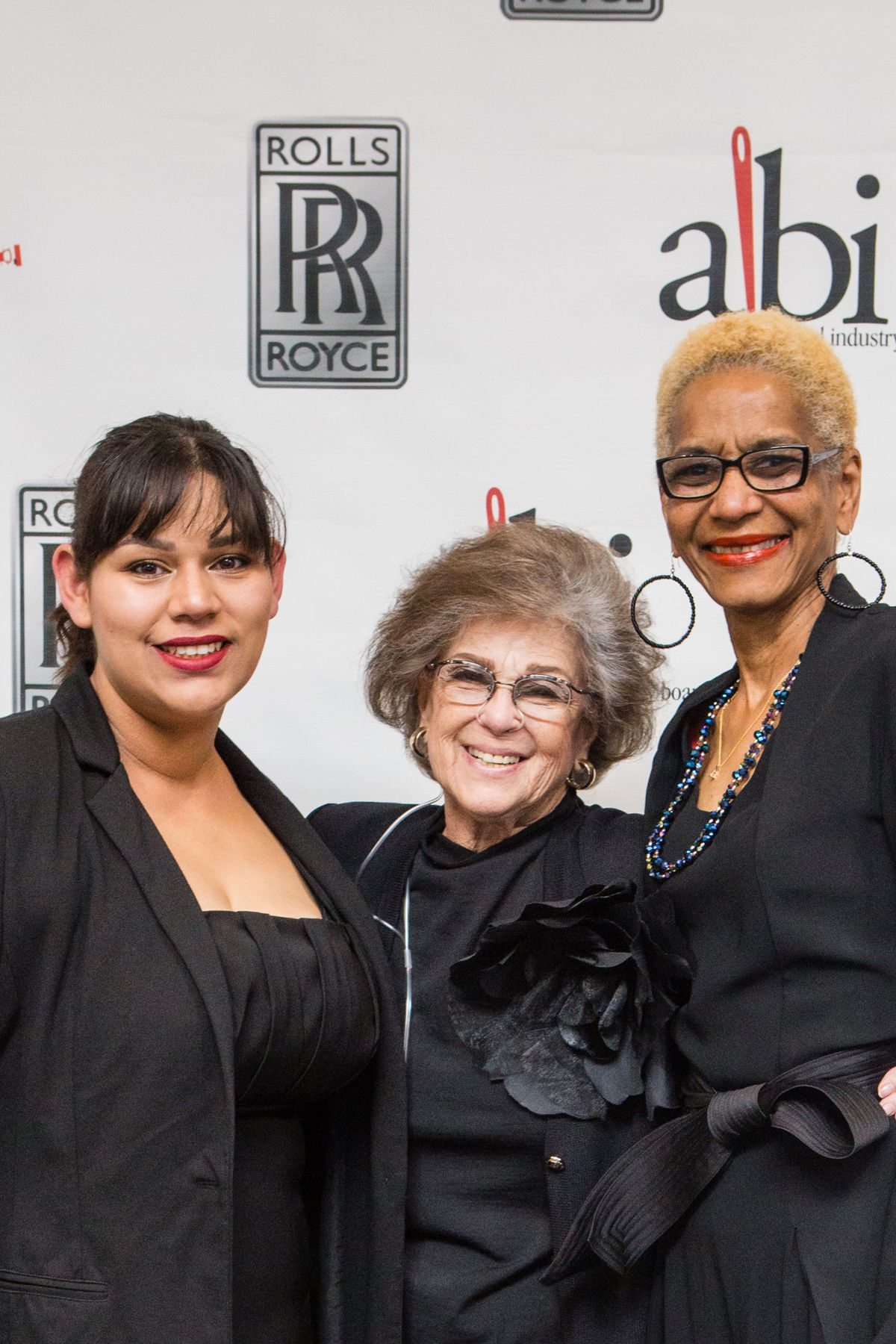 Marsha Brenner (center) with Ambar Campos (left) and Jacqueline Johnson of the Apparel Industry Board, Inc.