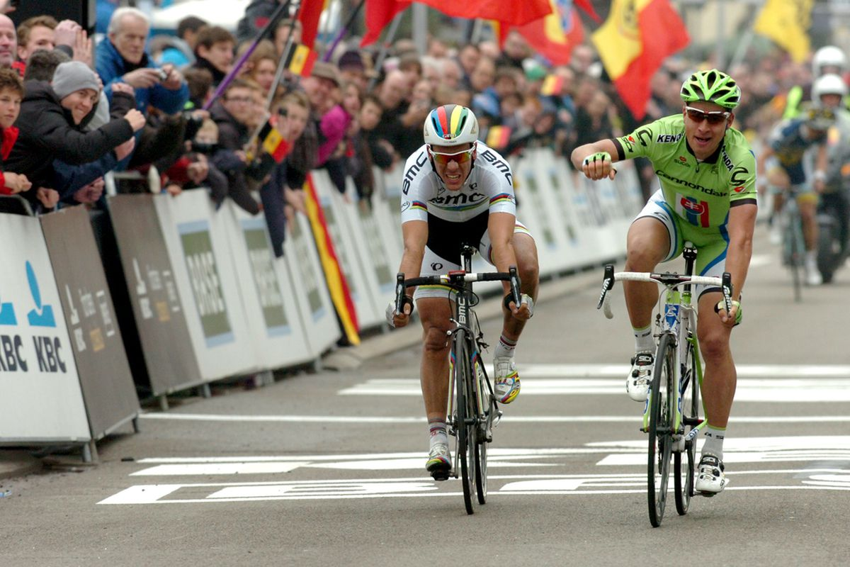 """With Gilbert too close for a wheelie, Peter Sagan resorted to a """"normal"""" victory salute today."""