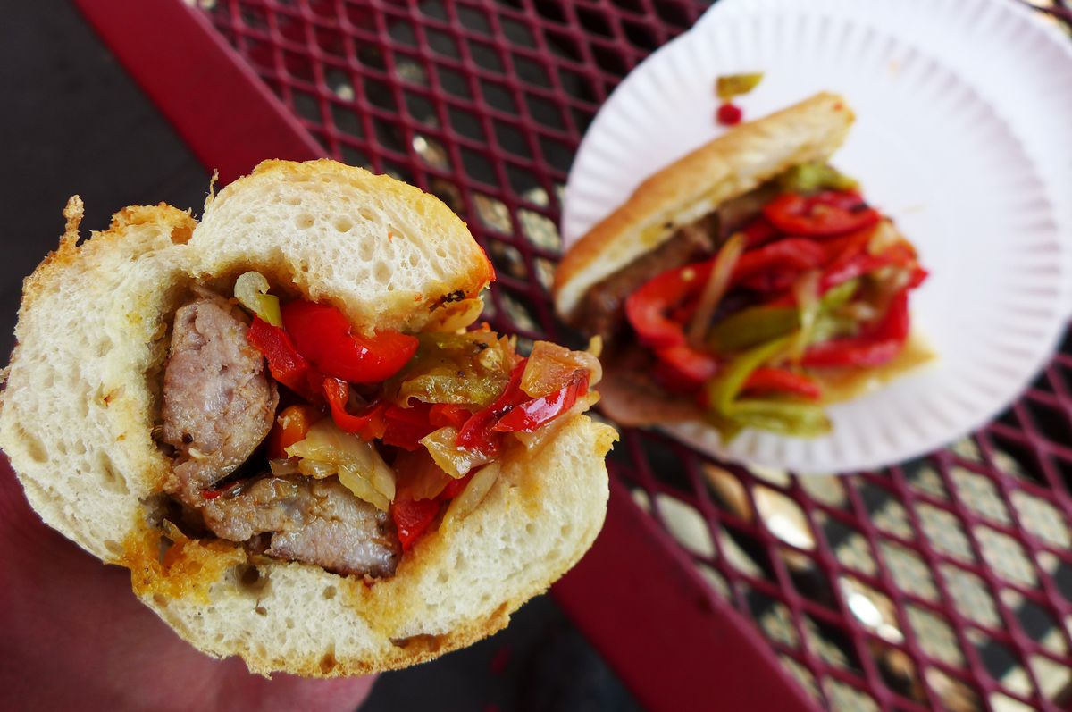 Sausage, pepper, and onion hero