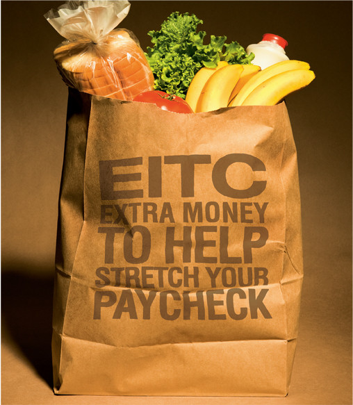 Grocery bag with EITC slogan on it