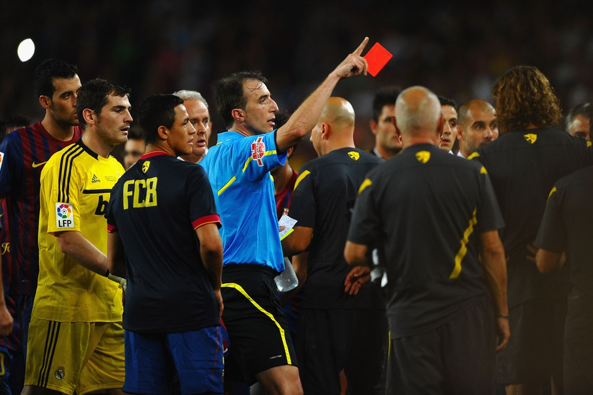 BARCELONA, SPAIN - AUGUST 17: Marcelo of Real Madrid is sent off during the Super Cup second leg match between Barcelona and Real Madrid at Nou Camp on August 17, 2011 in Barcelona, Spain.  (Photo by Laurence Griffiths/Getty Images)