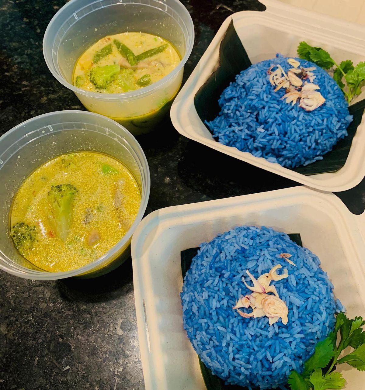 Pandan Skies's blue rice and vegetable curries