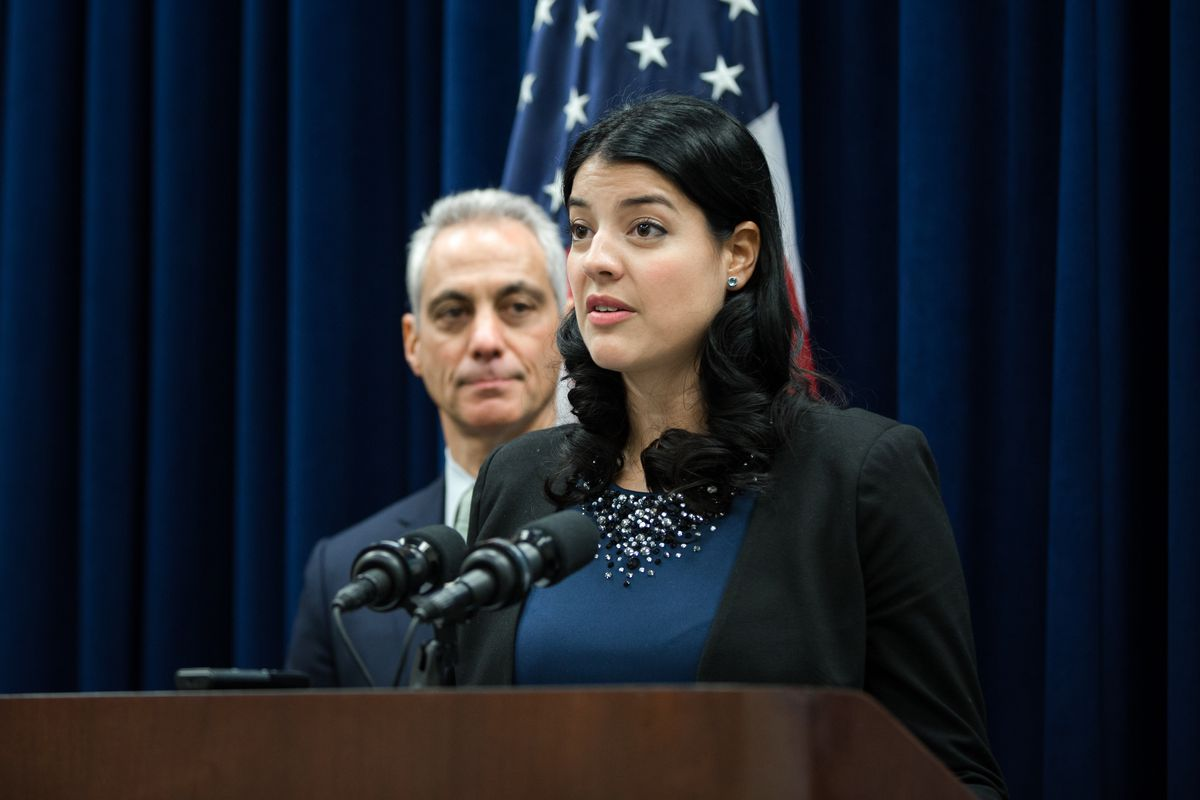 Newly appointed City Clerk Anna Valencia speaks during a news conference after a City Council meeting in 2016.