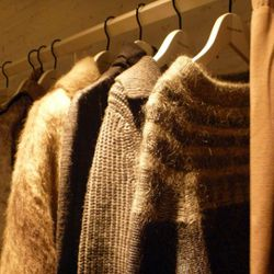 Fuzzy sweaters for ladies.