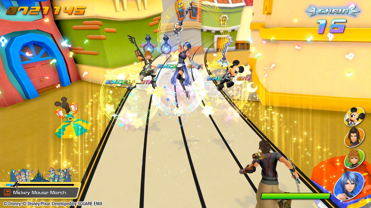 Various Kingdom Hearts characters lift their keyblades in celebration during a Melody of Memory level
