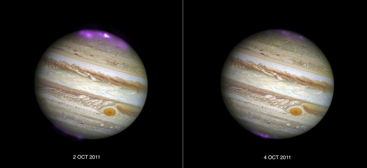 X-ray aurora data obtained by NASA's Chandra X-ray Observatory over a picture of Jupiter taken by Hubble Space Telescope.