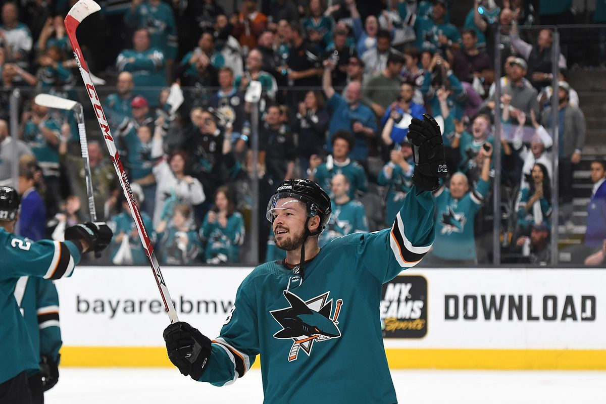 Tomas Hertl of the San Jose Sharks celebrates after they defeated the Colorado Avalanche 3-2 in Game Seven of the Western Conference Second Round during the 2019 NHL Stanley Cup Playoffs at SAP Center on May 8, 2019 in San Jose, California.