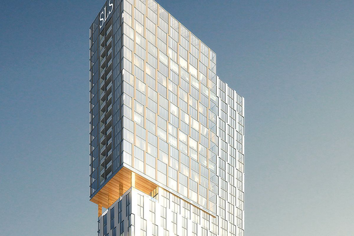 An older rendering shows a very geometric vision for the mixed-use tower.