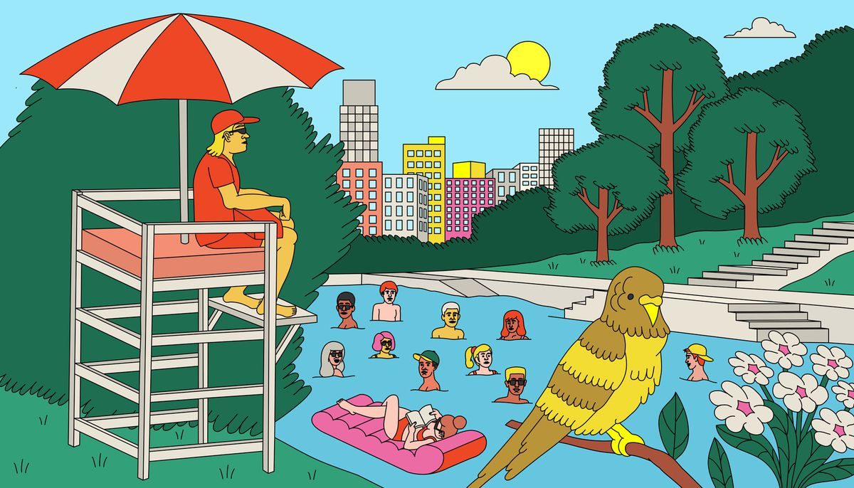 Drawing of a natural swimming pool with lawns and trees on each side. There's a parakeet on front right and a group of tall buildings in back. A lifeguard in a lifeguard chair is on one side and steps leading to the pool are on the other.