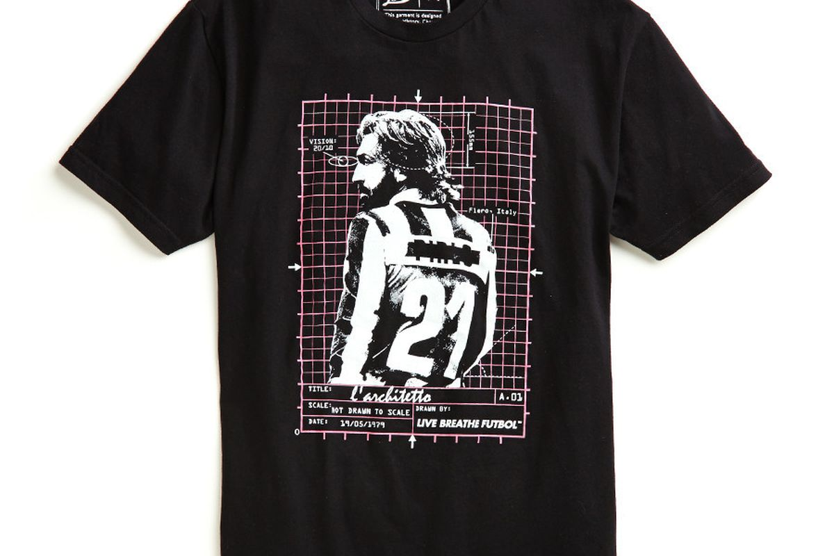 The Pirlo t-shirt, by LBF. $30, standard shipping $5. Available now.