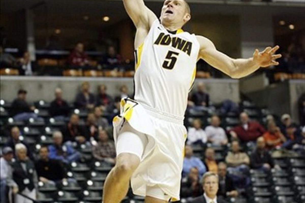 Thanks to a scheduling conflict involving the NCAA Tournament, Iowa fans will get one more chance to be thrilled by the heroics of Matt Gatens.  Mandatory Credit: Brian Spurlock-US PRESSWIRE