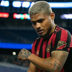 FOXBOROUGH, MA - APRIL 13: Atlanta United FC forward Josef Martinez #7 leaves the field after the first half at Gillette Stadium on April 13, 2019 in Foxborough, Massachusetts. (Photo by J. Alexander Dolan - The Bent Musket)
