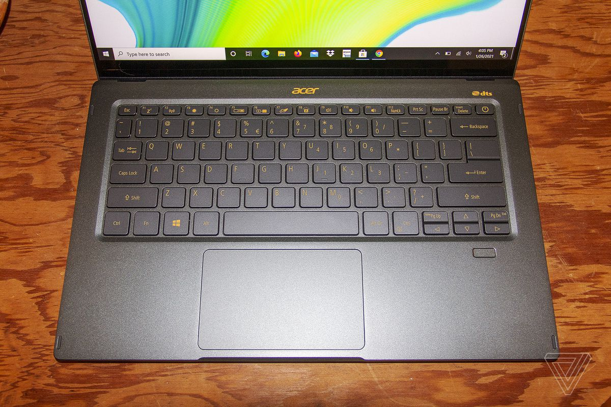 The Acer Swift 5 keyboard from above.