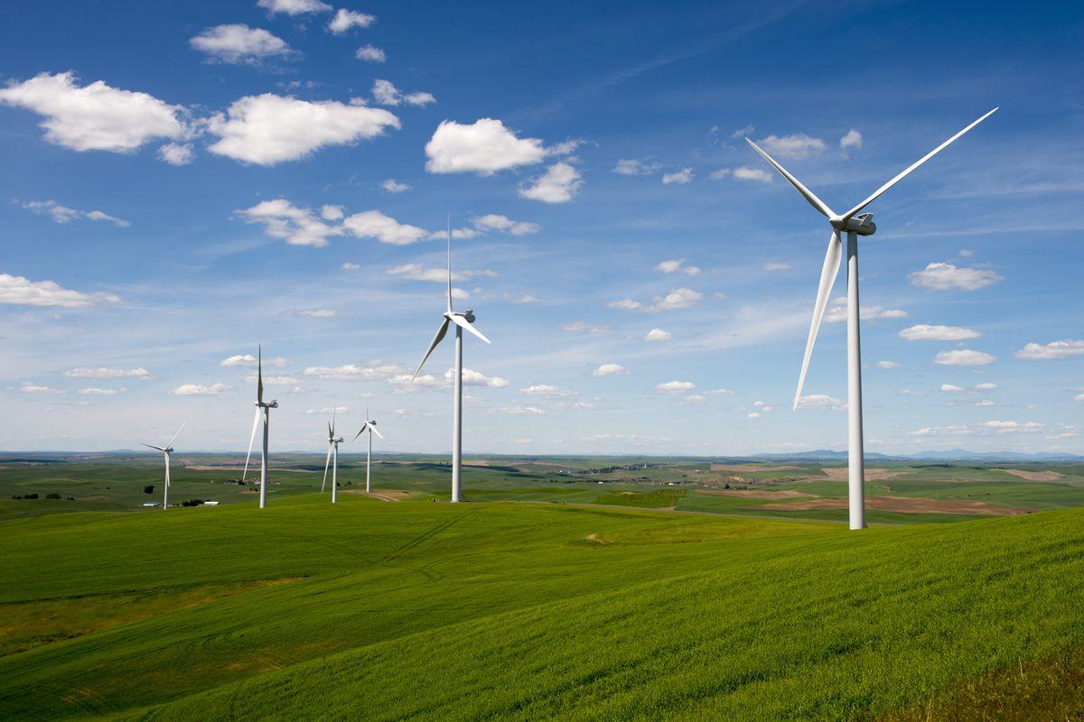 View of the Rosalia Wind Farm near Oaksdale in the Palouse, Washington State, USA.