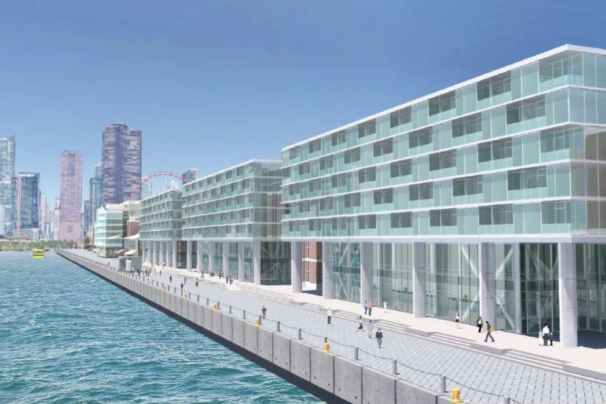 Navy pier officially reveals proposed hotel lake michigan for Pier hotel new york