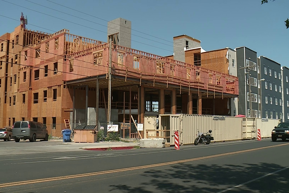 The 800 Block apartment complex in Logan is under construction.